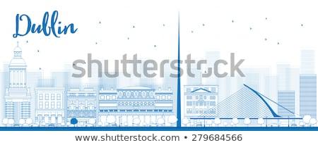 Skicc Dublin sziluett kék épületek Írország Stock fotó © ShustrikS