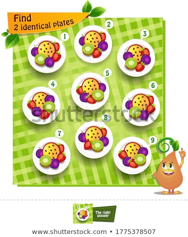 find 2 identical plates game Stock photo © Olena
