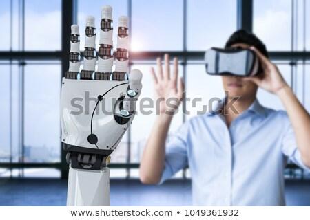 Mann Roboter Wechselwirkung menschlichen Maschine künstliche Intelligenz Stock foto © AndreyPopov