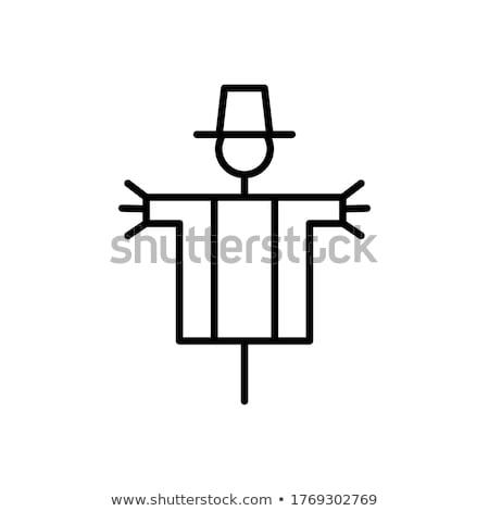 Búzamező madárijesztő ikon vektor skicc illusztráció Stock fotó © pikepicture
