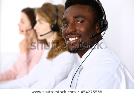 African American Call Center Desk Woman Stock photo © AndreyPopov