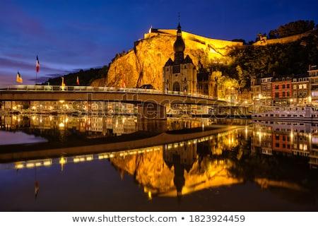Noche vista ciudad Bélgica iglesia dama Foto stock © dmitry_rukhlenko