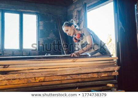 Kobieta stolarz drewna przechowywania następny Zdjęcia stock © Kzenon