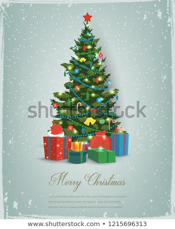 северный олень дерево Рождества орнамент украшение красный Сток-фото © posterize