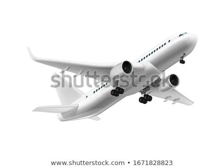 Repülőgép izolált repülés repülőgép fekete fehér Stock fotó © joyr