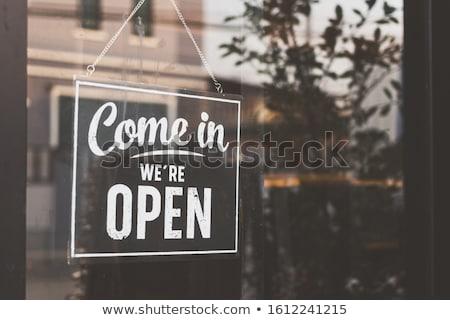 オープン コーヒーショップ クローズアップ 建物 壁 ストックフォト © PeterP