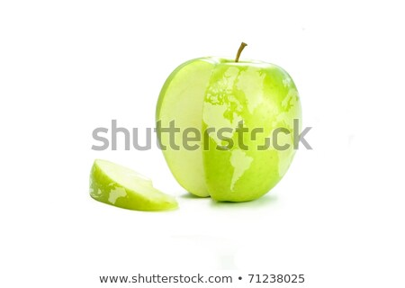 Stock foto: World Map On A Fresh Green Apple With A Slice Cut Out