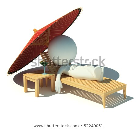 3d small people   rest on a chaise lounge stock photo © anatolym