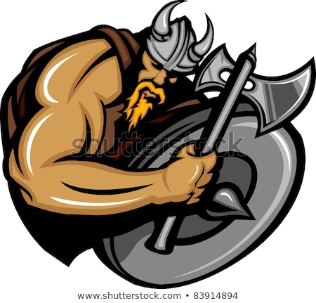 viking norseman mascot cartoon with ax and shield stock photo © chromaco