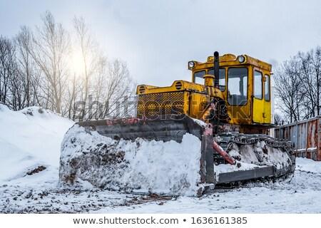 Escavadeira neve limpeza montanha estrada primavera Foto stock © kokimk