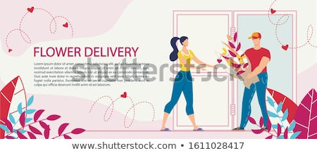 woman delivering bouquet of flowers stock photo © photography33