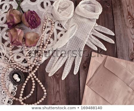 закрывается жемчуга Vintage перчатка воды свадьба Сток-фото © illustrart