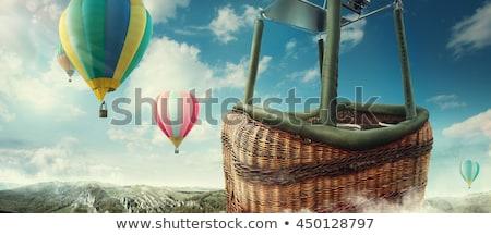 részlet · színes · hőlégballon · felhők · kék · jókedv - stock fotó © taviphoto
