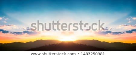 太陽光線 山 風景 雲 空 太陽 ストックフォト © Aikon