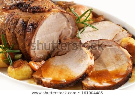 cerdo · lomo · primer · plano · patatas - foto stock © zhekos