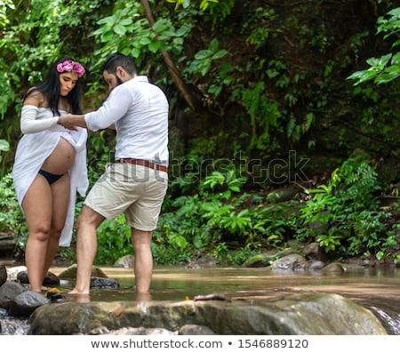hispanic woman creek stock photo © hlehnerer