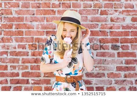 Szőke piros fedora aranyos érzéki lány Stock fotó © carlodapino