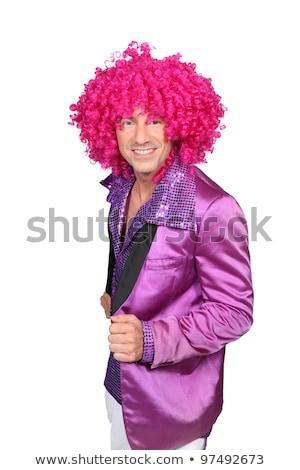 Karakter roze pruik hand haren home Stockfoto © photography33