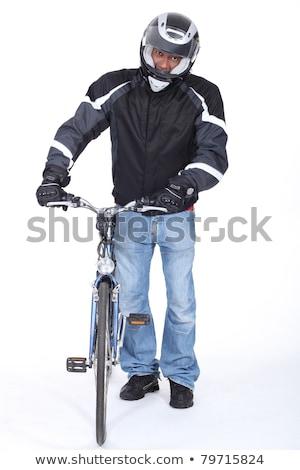 Elővigyázatos motoros sport fickó áll mozgás Stock fotó © photography33