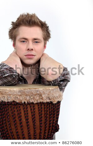 Man poseren muziek huid witte trommel Stockfoto © photography33