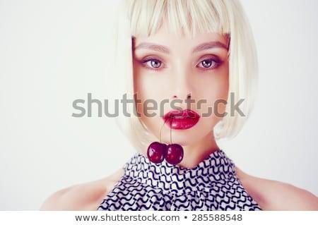 mulher · jovem · cereja · isolado · branco · menina · comida - foto stock © artjazz