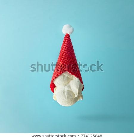 Sorvete de cabeça para baixo papel fruto branco fotografia Foto stock © luminastock