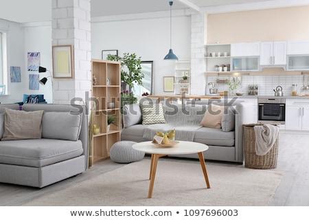 Stockfoto: Woonkamer · detail · interieur · moderne · heldere · oranje