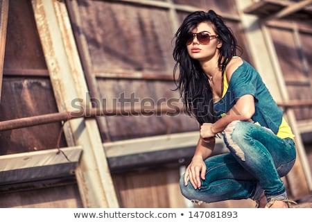 Natürlichen Brünette Frau Jeans weiß Mädchen Stock foto © dash