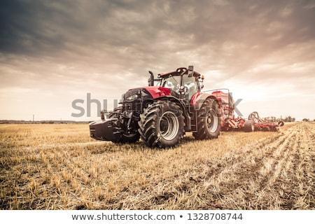 veld · agrarisch · machines · Rood · trekker · hemel - stockfoto © koufax73