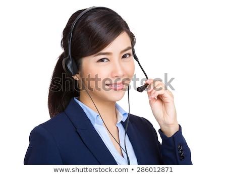 mooie · positief · vrouwelijke · call · center · agent · werk - stockfoto © juniart
