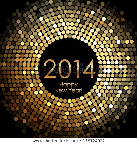 Golden New 2014 Year card, vector illustration Stock photo © carodi