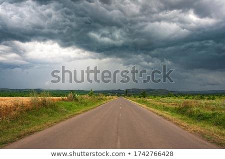 strada · campo · stormy · buio · nuvoloso · cielo - foto d'archivio © mycola