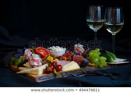 borospohár · hús · bor · öreg · vászon · étel - stock fotó © m-studio