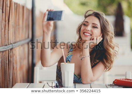 Porträt · ziemlich · jungen · asian · Paar · Handys - stock foto © witthaya