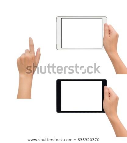 doigt · comprimé · étroite · homme · heureux - photo stock © jackethead