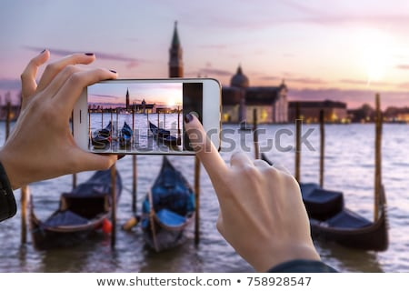 Zdjęcia stock: Travel And Photo Sharing Technology Background