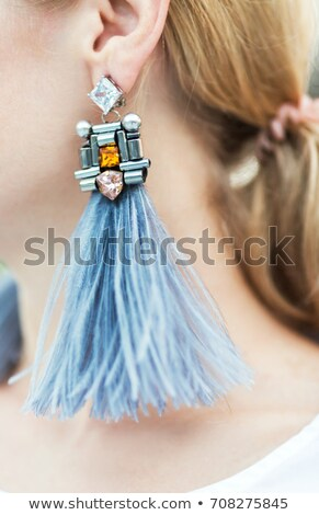 Modernes mode boucles d'oreilles paire bleu diamant Photo stock © ifeelstock