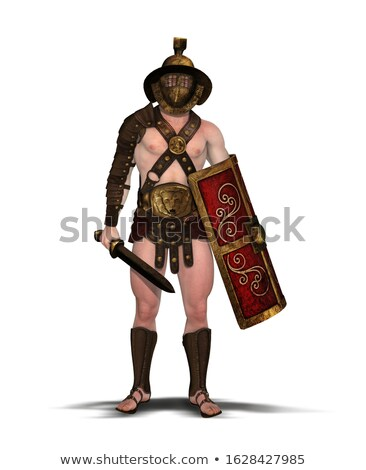 Gladiator with muscular body with sword and helmet Stock photo © Nejron