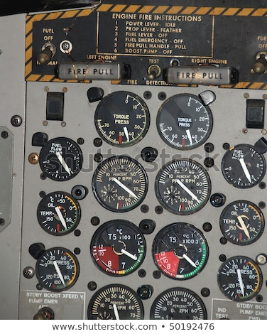 Detail of a airplane cockpit with various indicators and buttons Stock photo © amok