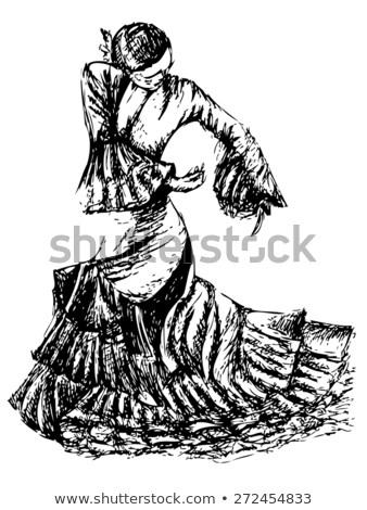Flamenko dansçı heykel yalıtılmış beyaz kadın Stok fotoğraf © Kayco