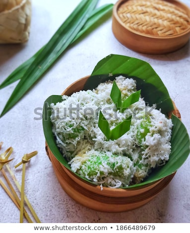 steamed flour with coconut filling on white dish stock photo © punsayaporn