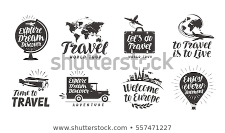 Earth with buildings, airplane and voyage bag Stock photo © cherezoff