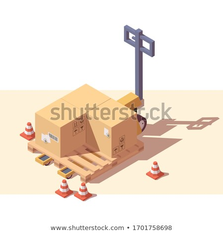 Hand yellow pallet truck. Forklift. Vector illustration Stock photo © leonido