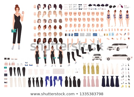 divat · női · hajstílusok · szemek · vektor · akta - stock fotó © ddraw