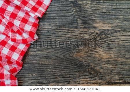Rojo blanco mantel patrón textura Foto stock © stevanovicigor