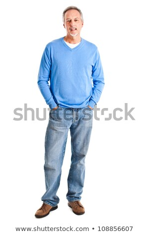 Full-length portrait of a pensive man over white background Stock photo © deandrobot
