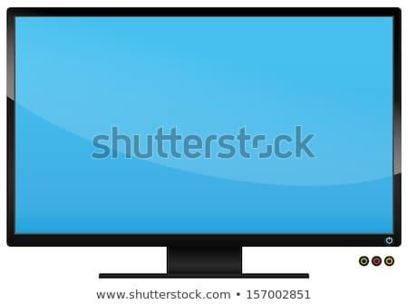 Lapos kijelző tv egyszerű ikon fehér internet Stock fotó © tkacchuk