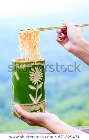 Bambu fincan Çin yemek çubukları orman zemin güzellik Stok fotoğraf © miracky