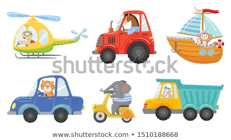 Tractor with horses riding the road Stock photo © remik44992
