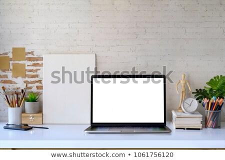 houten · tafel · groene · bokeh · lege · houten - stockfoto © artjazz